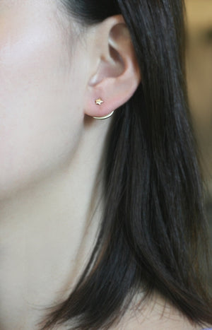 Tiny Star and Crescent Moon Ear Jacket in Sterling Silver