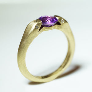 Double Headed Snake Ring in Brass with Brass with Amethyst and Diamonds