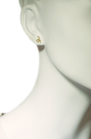 Mini Mismatched Snake Stud Earrings in 18K Gold Plate with White CZ