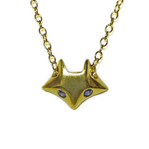 Fox Necklace in 18K Gold Plate with Blue CZ