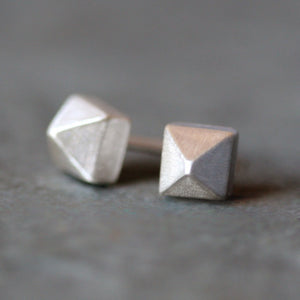 Pyramid Stud Earrings in Sterling Silver
