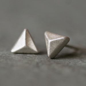 Triangle Pyramid Stud Earrings in Sterling Silver
