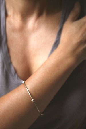 Low Pyramid Bangle in Brass