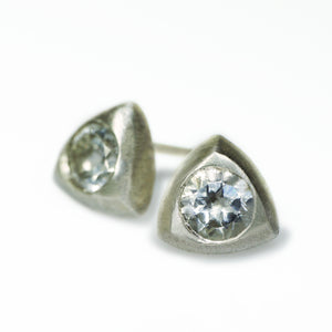 Triangle Solitaire Stud Earrings in Sterling with White Topaz