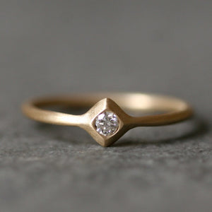 Small Pyramid Solitaire Ring in 14K with Diamond