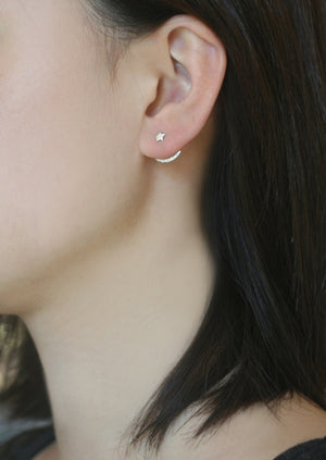 Tiny Star and Crescent Moon Ear Jacket in Sterling Silver with Diamonds