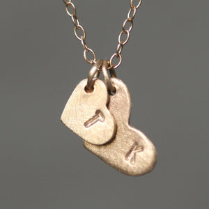 Double Heart Initial Necklace in 14K Gold