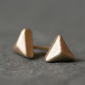 Triangle Pyramid Stud Earrings in 14K Gold