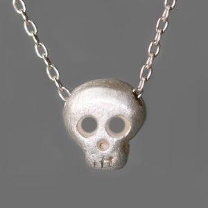 Baby Skull Necklace in Sterling Silver