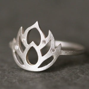 Lotus Flower Ring in Sterling Silver with 4 Diamonds