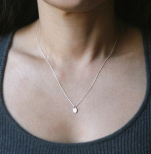 Tiny Oval Initial Necklace in Sterling Silver