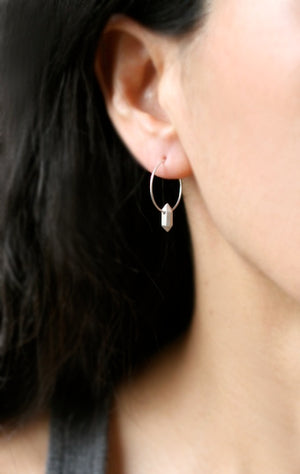 Single Nugget Hoop Earrings in Sterling Silver