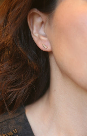 Tiny Bar Stud Earrings 14K Gold with Diamonds