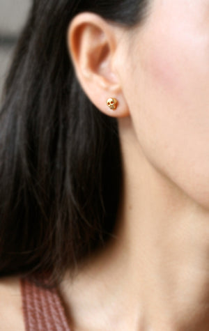 Baby Skull Earrings in 18K Gold Plate
