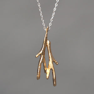 Tiny Double Branch Necklace in 18K Gold Plate and Sterling Silver