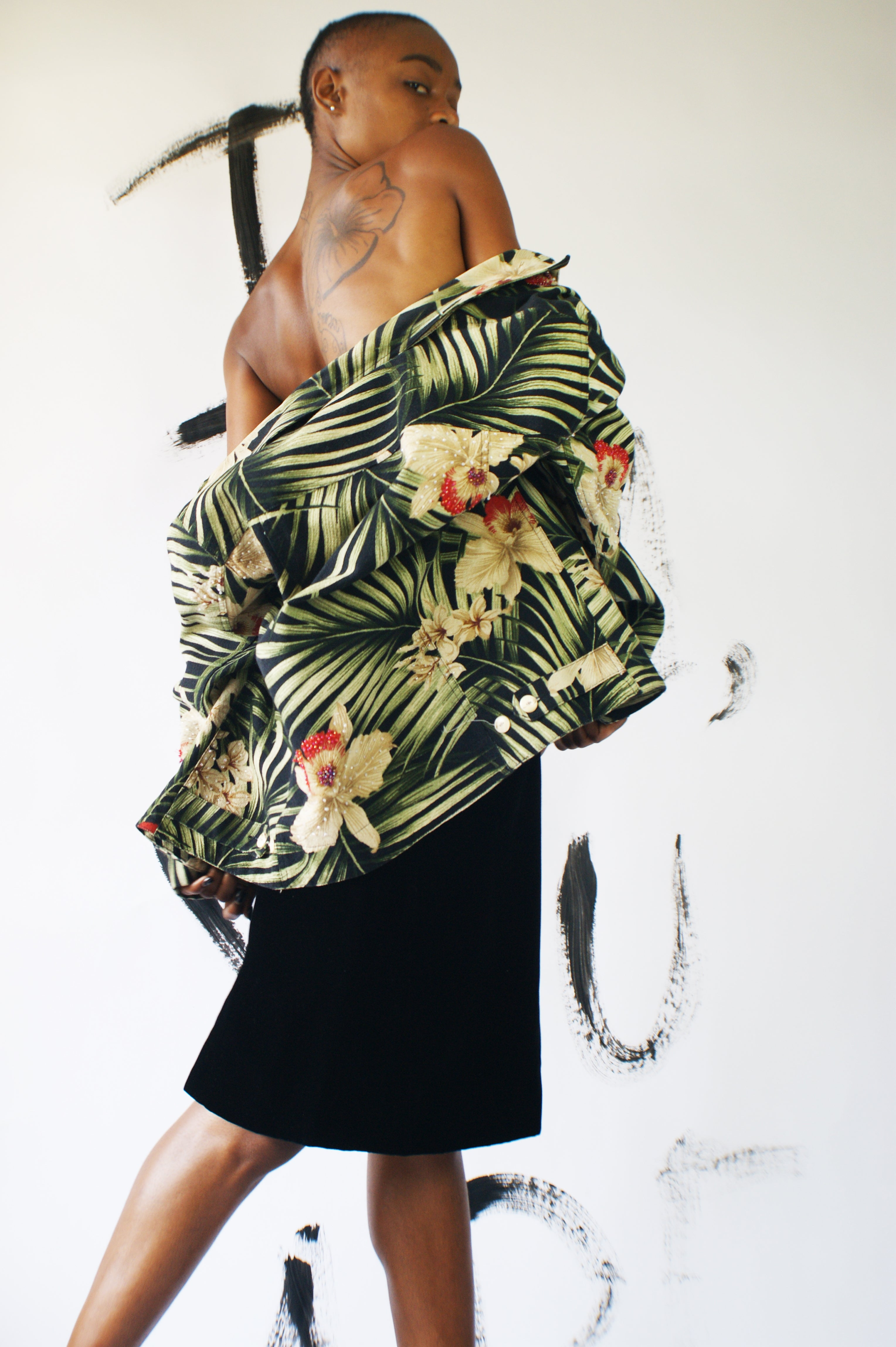 Palm Tree Beaded Vintage Jacket - ULTRA-CAT