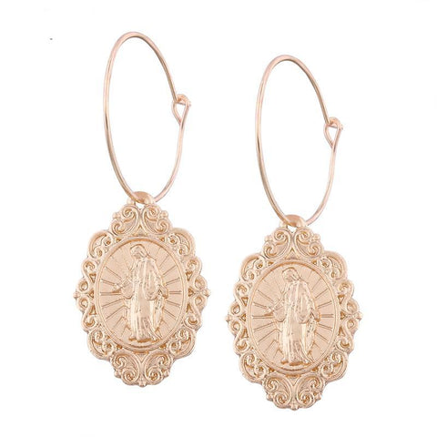 Vintage Oval Jesus Earrings