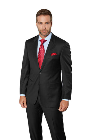 Maks Menswear Black 100% Worsted Wool Two Piece Suit