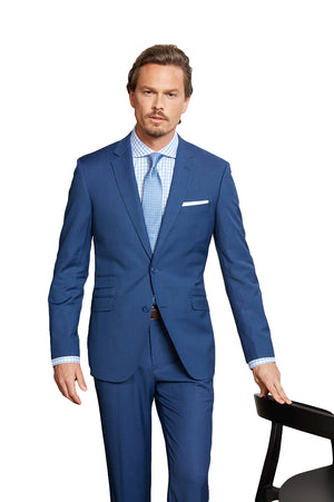 Maks Menswear French Blue 100% Worsted Wool Two Piece Suit