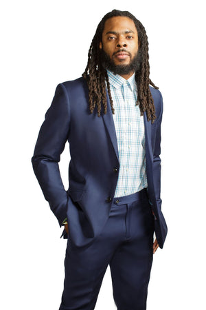 RSPCT -  Blue 100% Wool Two Piece Suit