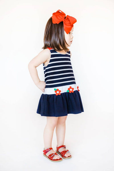 Navy Stripe Knit Pique Dress with Flowers
