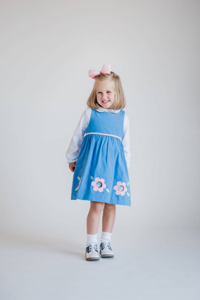 Blue Corduroy Jumper with Applique Cutout Flowers