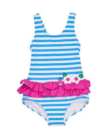 Girls Seersucker Swimsuit with Flowers
