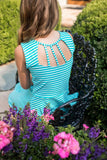 Aqua Shadow Stripe Knit Dress
