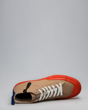 CANVAS HIGH FULL CAP <br />Tan/Utility Orange/OBRA Blue