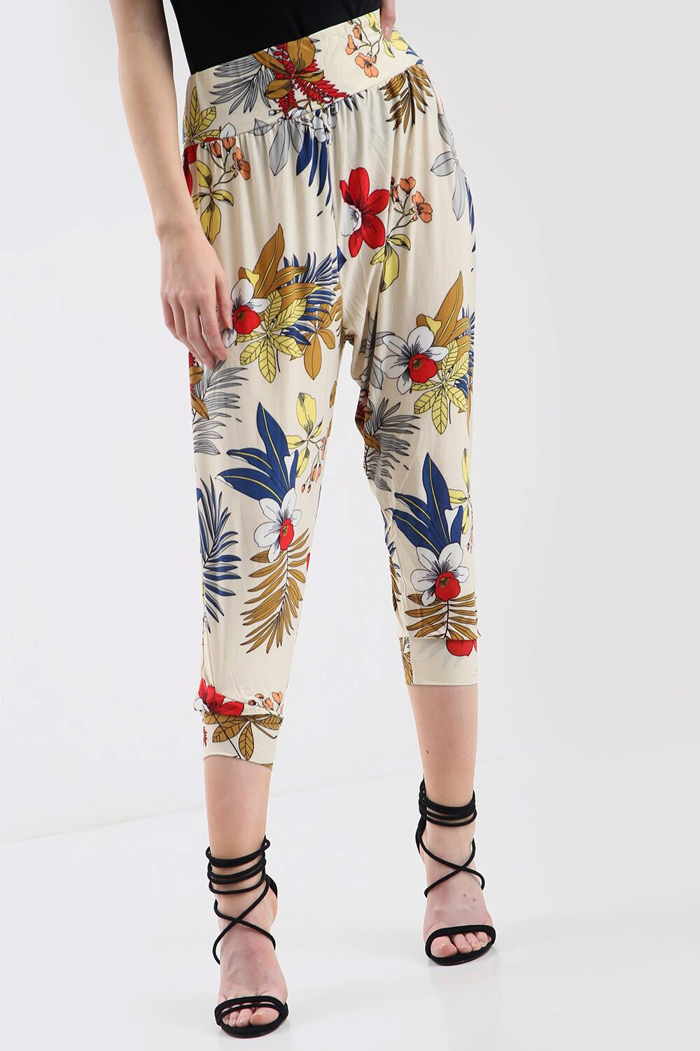 High Waisted Floral Print Cuffed Leg Pants - bejealous-com