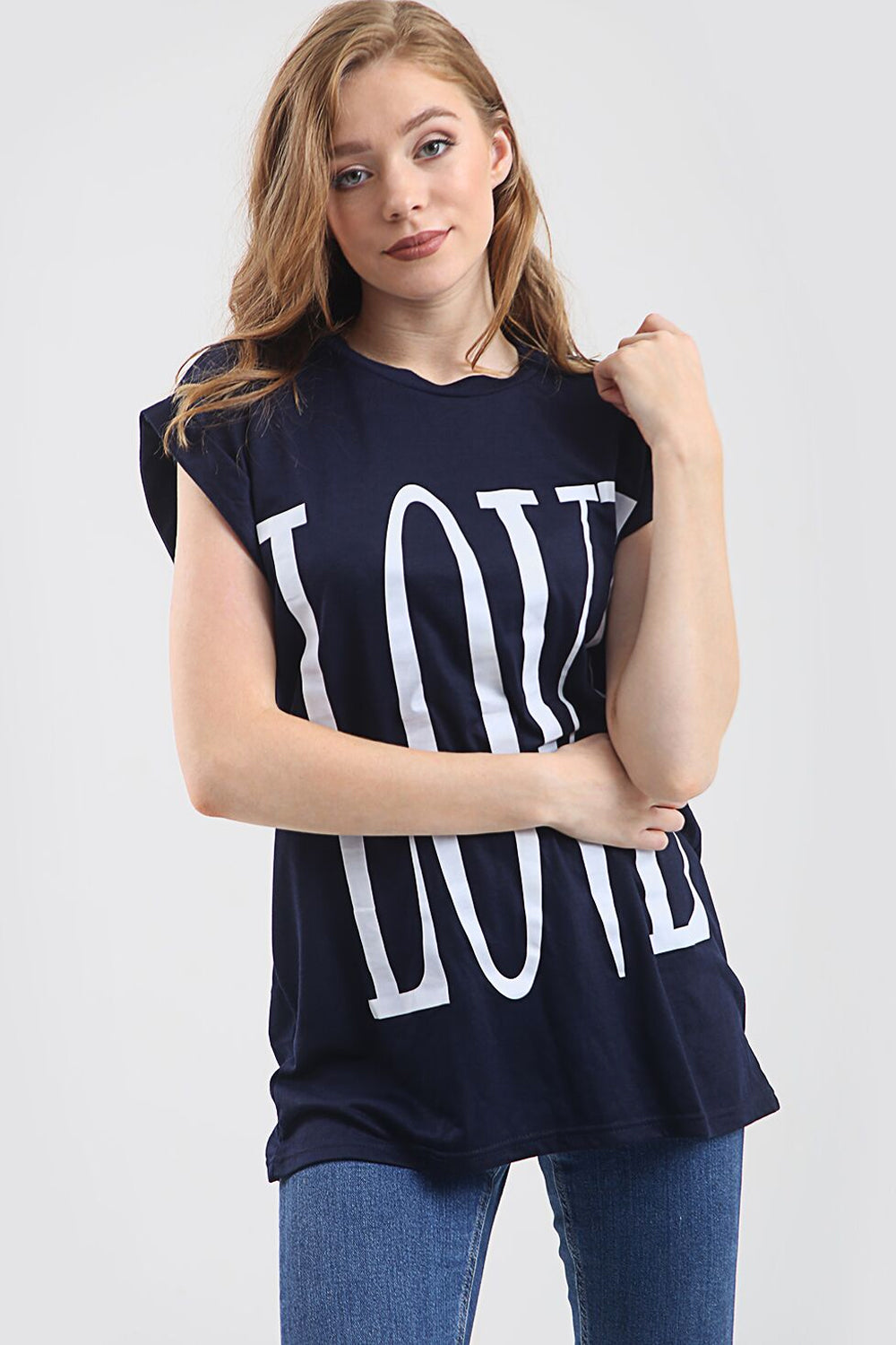 Love Slogan Print Oversized Roll Sleeve Tshirt