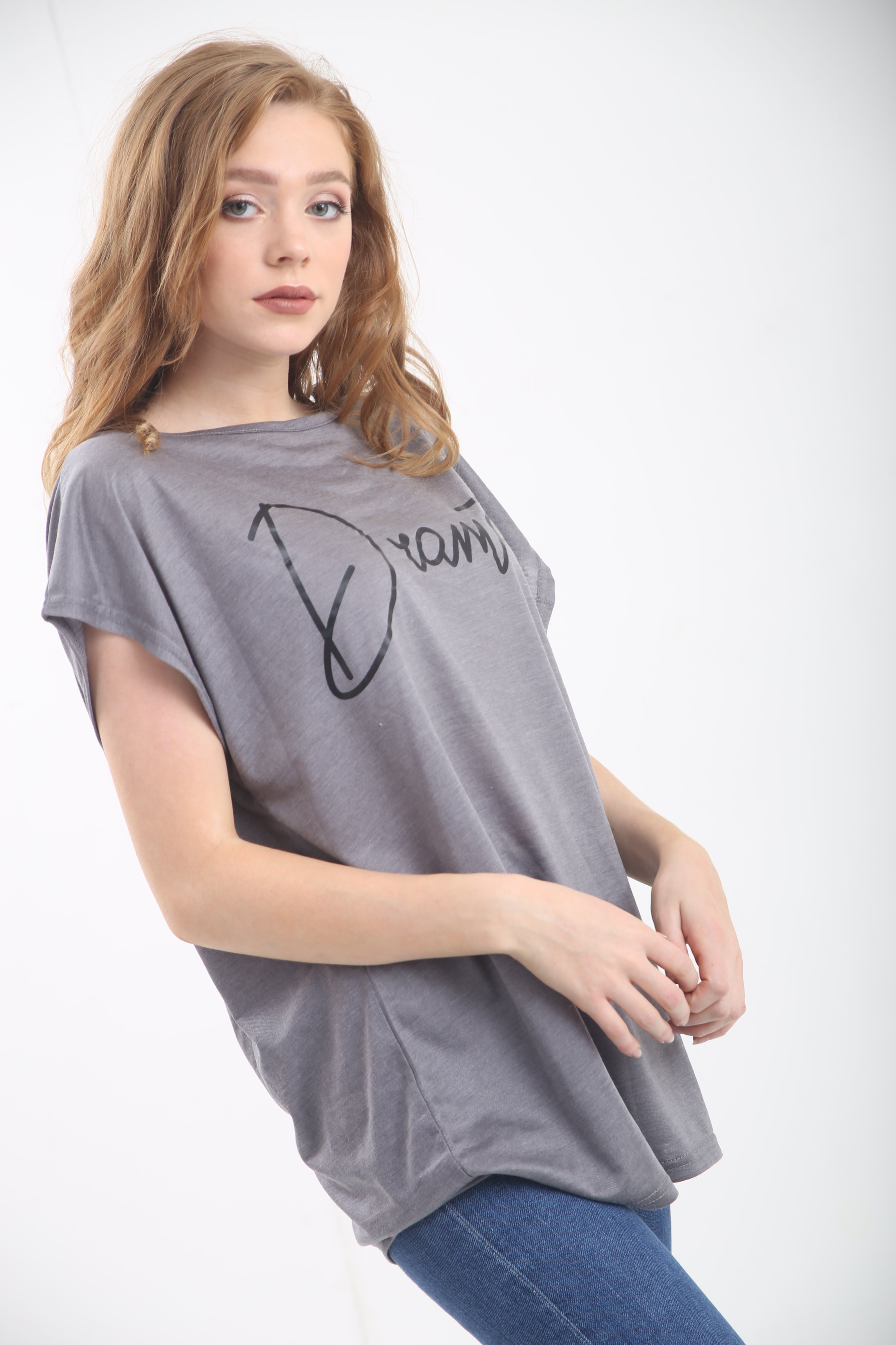 Turn Up Sleeve Dramatic Slogan Print Baggy Tshirt - bejealous-com