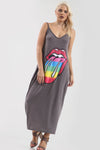 Strappy Rainbow Lips Print Charcoal Maxi Dress - bejealous-com