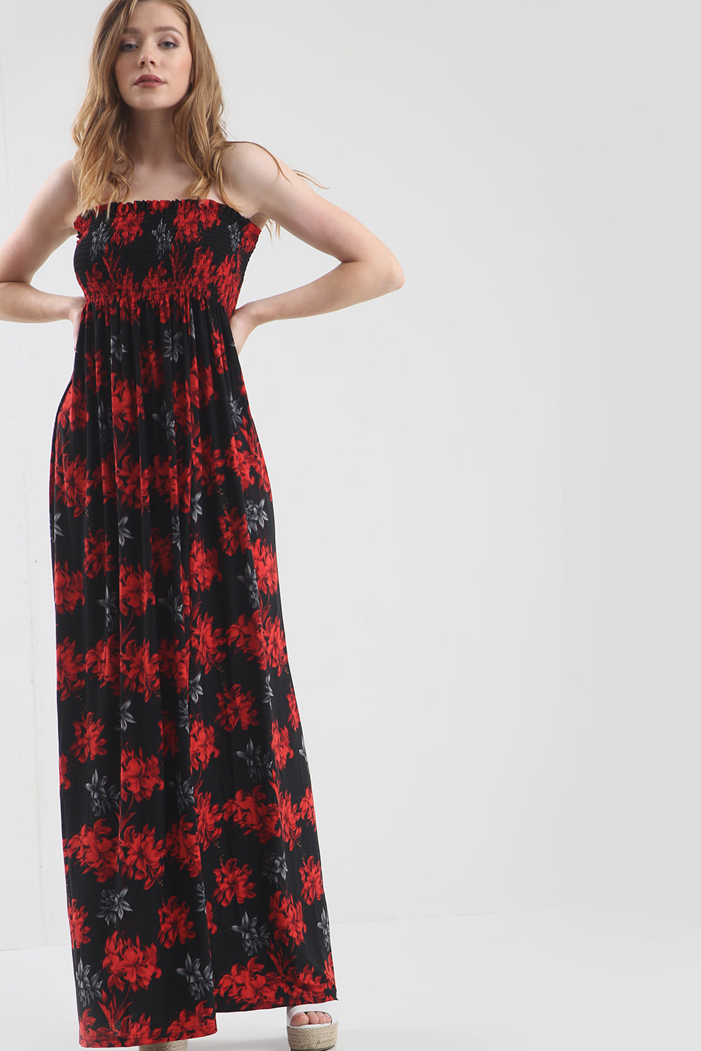 Strapless Maxi Dress in Red Tropical Print - bejealous-com