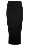 High Waisted Black Slinky Midaxi Pencil Skirt - bejealous-com