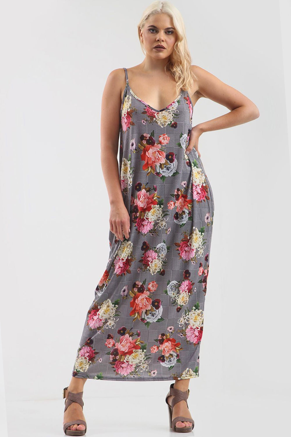 Strappy Loose Fit Floral Gingham Maxi Dress - bejealous-com