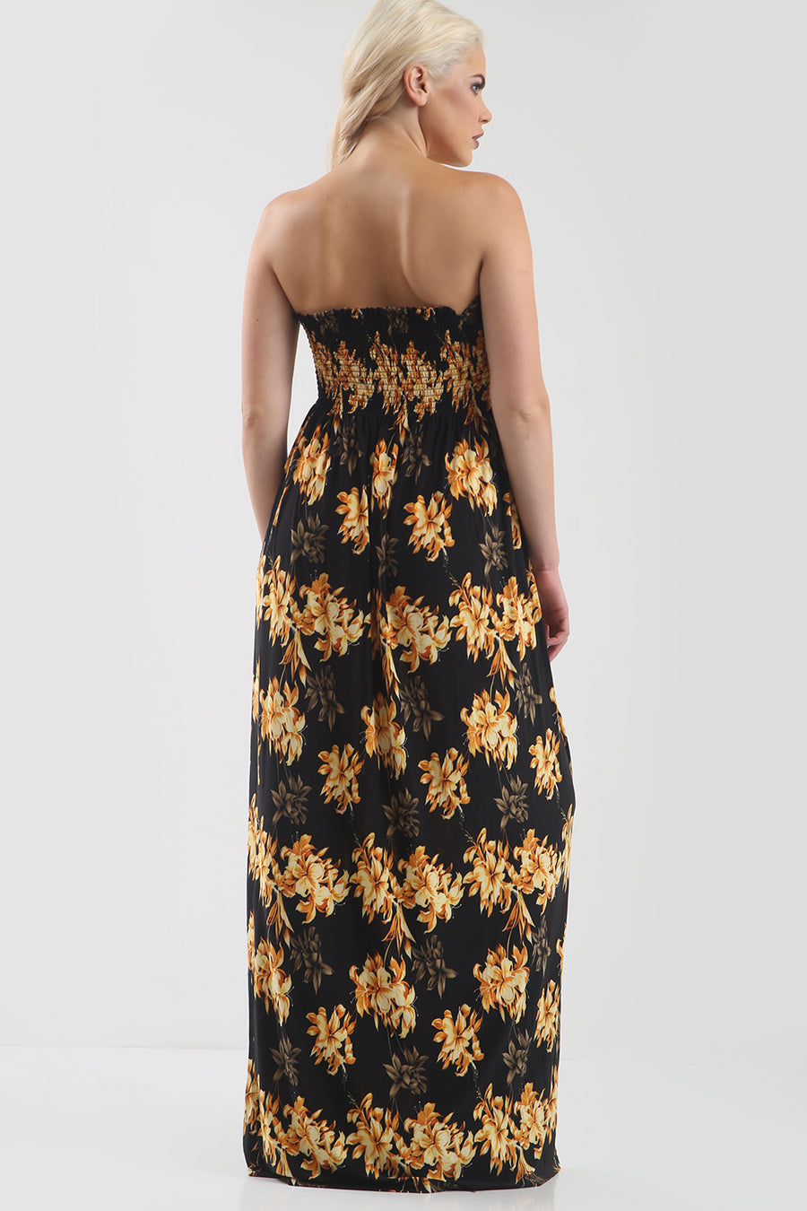 Strapless Maxi Dress in Gold Tropical Print - bejealous-com