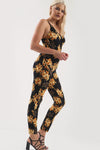 Strappy Yellow Floral Print Narrow Leg Jumpsuit - bejealous-com
