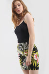 High Waist Green Tropical Print Mini Skirt - bejealous-com