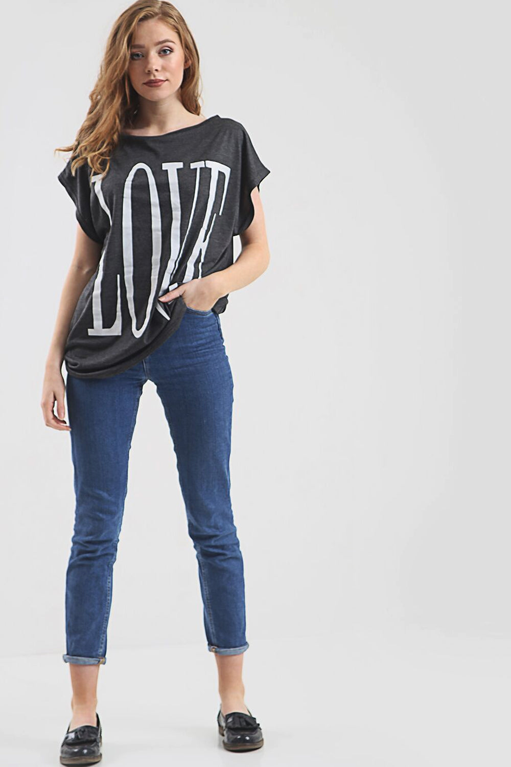 Love Slogan Print Oversize Turn Up Sleeve Tshirt