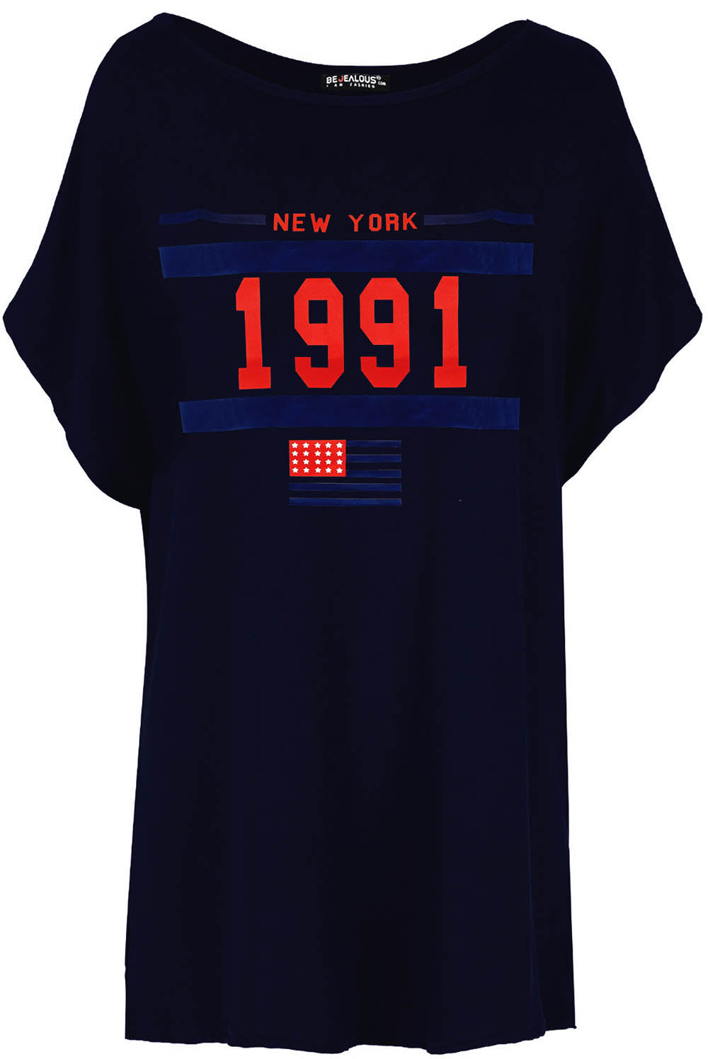 New York Oversize Slogan Bat Wing Tshirt - bejealous-com