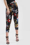 High Waist Red Floral Print Cuffed Leg Trousers - bejealous-com