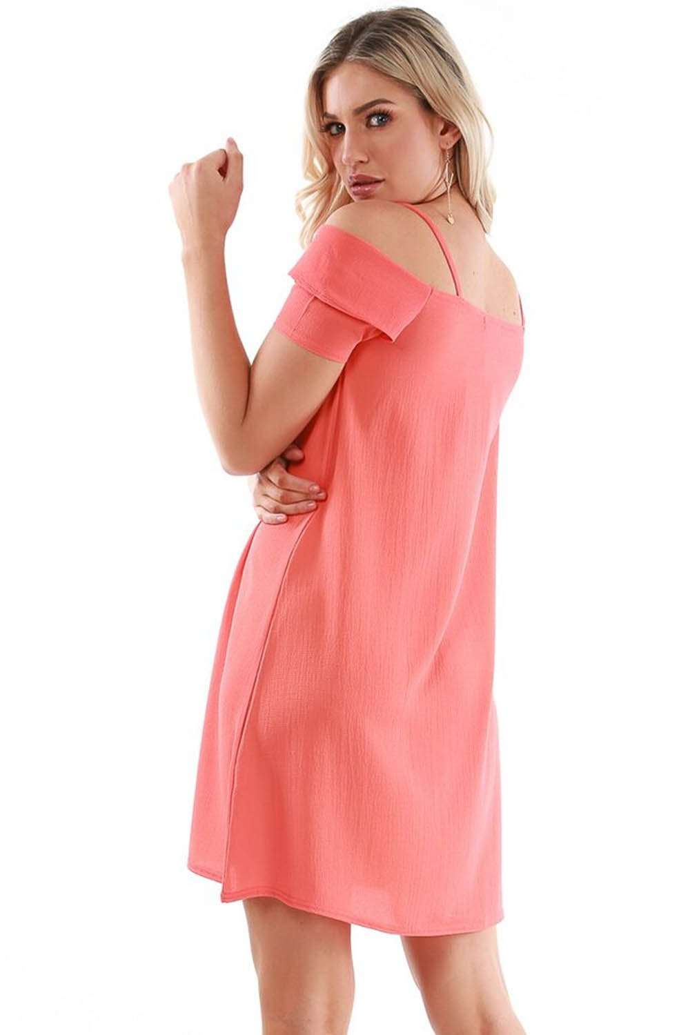 Coral Strappy Off Shoulder A-line Mini Dress - bejealous-com