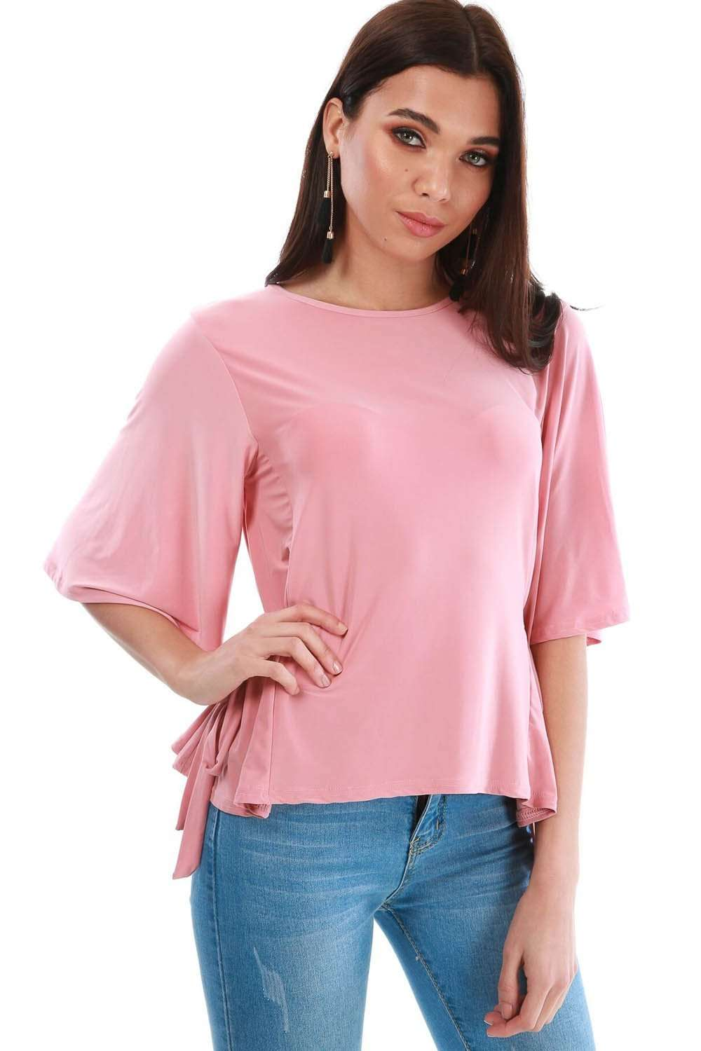 Hallee Pink Tie Side Slinky Bat Wing Top - bejealous-com