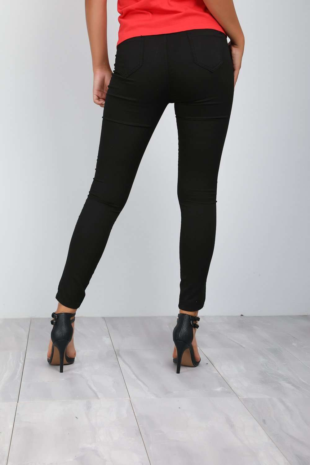 High Waisted Black Stretch Skinny Jeans - bejealous-com