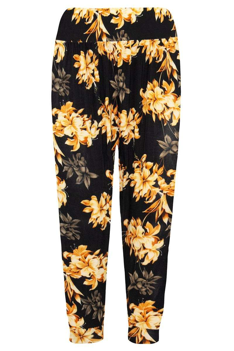 Navy High Waisted Floral Print Cuffed Leg Pants - bejealous-com