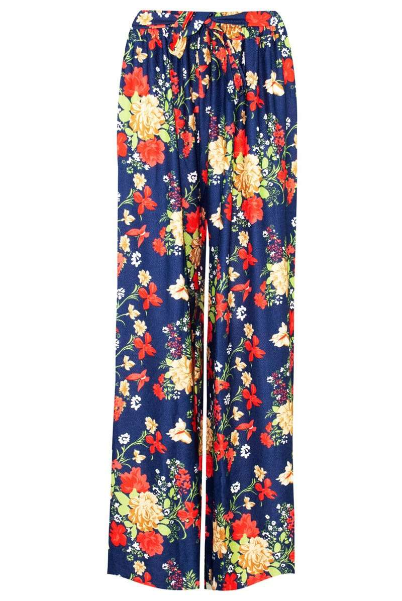 Red High Waisted Tropical Print Wide Leg Palazzo Pants - bejealous-com