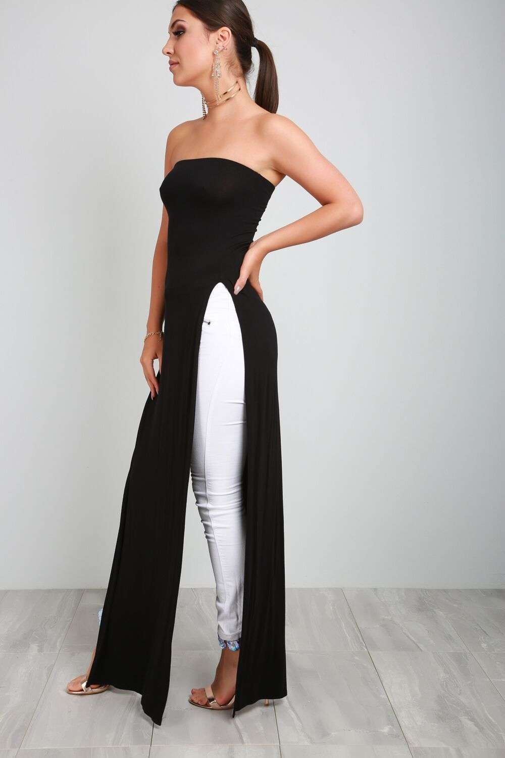 Kara Bardot Side Split Jersey Maxi Dress - bejealous-com
