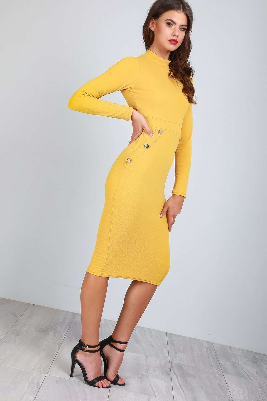 Sadie Long Sleeve Gold Button Bodycon Dress - bejealous-com