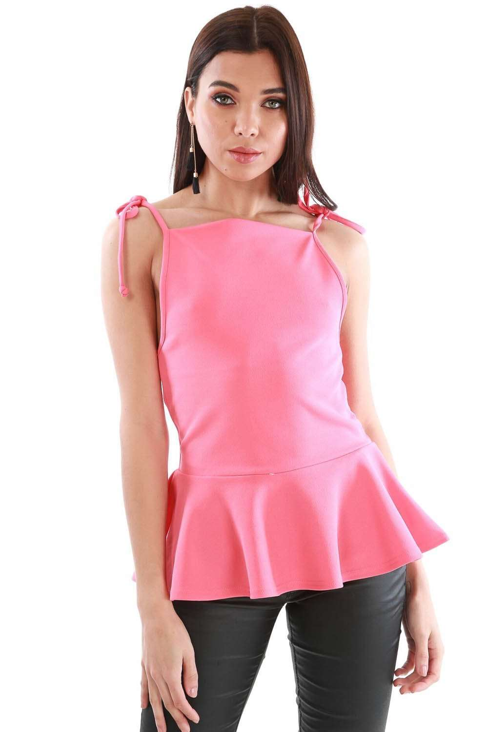 Strappy Coral Square Tie Neck Peplum Frill Top - bejealous-com
